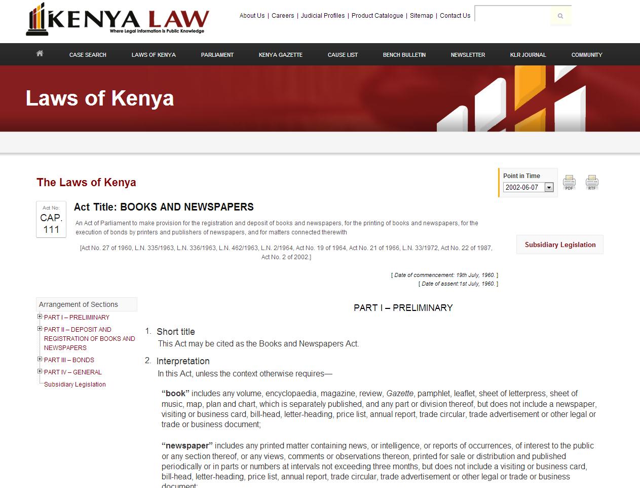 The Laws of Kenya